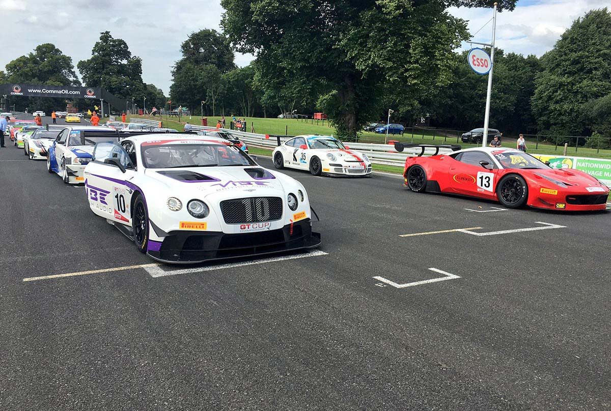 GT Cup cars lining up at Oulton Park